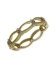 Heidi Daus Sound Off Swarovski Crystal And Multicolored Rhinestone Open Bangle Bracelet Gold
