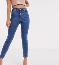 Asos Design Petite Ridley High Waist Skinny Jeans In Bright Midwash Blue Purple
