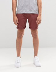 Asos Denim Shorts In Stretch Slim Burgundy Oxblood Red
