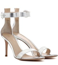 Gianvito Rossi Portofino 85 Leather Sandals Silver