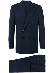 Kiton Double Breasted Two Piece Suit Men Cupro Virgin Wool 54 Blue
