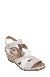 Earth 'S Thistle Wedge Sandal Off White Leather