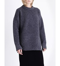 Allsaints Limited Naomi Chunky Knit Wool Blend Jumper Charcoal Grey
