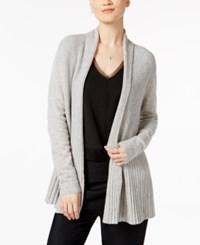 Charter Club Cashmere Ribbed Open Front Cardigan Only At Macy's Ice Grey Heather