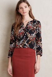 Anthropologie Geobubble Peasant Blouse Black Motif