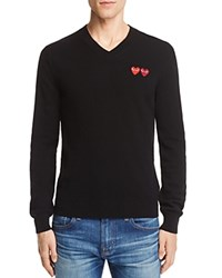 Comme Des Garcons Play Wool Double Heart V Neck Sweater Black
