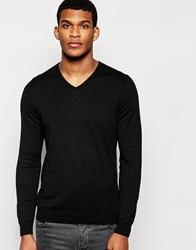 United Colors Of Benetton 100 Cotton Knitted V Neck Jumper Black