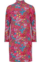 Marc Jacobs Floral Print Stretch Jersey Turtleneck Mini Dress Fuchsia