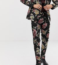 Heart And Dagger Skinny Suit Trousers In Metallic Floral Black