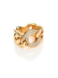 Roberto Coin Gourmette Diamond And 18K Yellow Gold Chain Ring