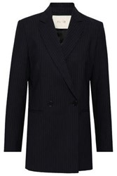 Maje Valere Double Breasted Pinstriped Crepe Blazer Midnight Blue