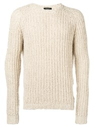 Roberto Collina Ribbed Trim Jumper Nude Neutrals