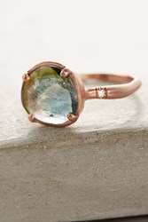 Anthropologie One Of A Kind Watermelon Tourmaline Ring Gold