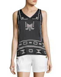 Laundry By Shelli Segal Embroidered V Neck Tank Black