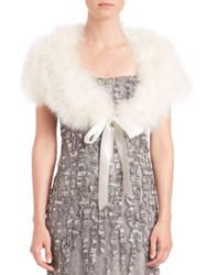 Alberto Makali Feather Tie Front Bolero White Black
