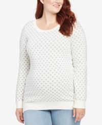 Motherhood Maternity Plus Size Polka Dot Sweater White Grey Dot Print