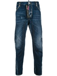 Dsquared2 Be Nice Relaxed Fit Denim Jeans Cotton Calf Leather Polyester Spandex Elastane Blue