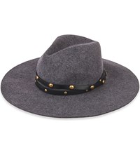 Sensi Studio Studded Wool Felt Fedora Hat Dark Grey
