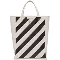 Off White And Black Diag Tote