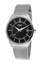 Rotary Men's Mesh Band Quartz Watch Metallic