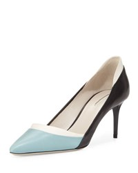 Giorgio Armani Tricolor Leather 65Mm Pump Black White Blue