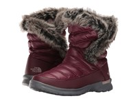 The North Face Thermoball Microbaffle Bootie Ii Shiny Deep Garnet Red Quail Grey Women's Pull On Boots