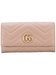Gucci Gg Marmont Continental Wallet Women Leather One Size Pink Purple
