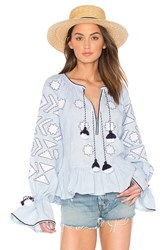 March 11 Long Sleeve Star Embroidered Blouse Blue
