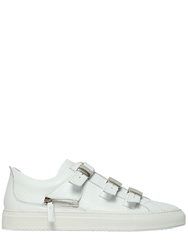 D S De Buckled Perforated Leather Sneakers White
