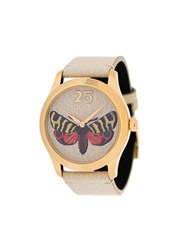 Gucci Butterfly Embroidered Leather Watch Neutrals