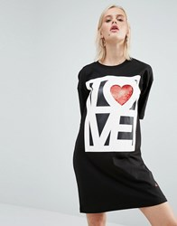 Love Moschino Sequin T Shirt Dress Black