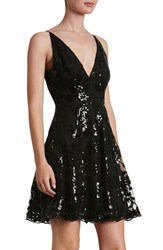 Dress The Population Women's 'Morgan' Sequin Lace Fit And Flare Black