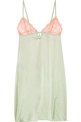Heidi Klum Intimates Delicatesse Lace Trimmed Stretch Silk Satin Chemise Mint