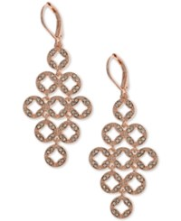 Anne Klein Rose Gold Tone Pave Chandelier Earrings