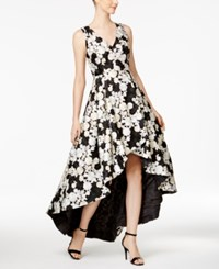 Calvin Klein Floral Embroidered High Low Gown Black Multi