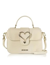 Love Moschino Eco Leather Satchel Bag W Heart Buckle Ivory