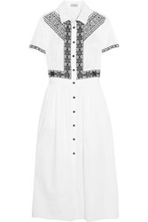 Temperley London Magda Pleated Embroidered Cotton Midi Dress White