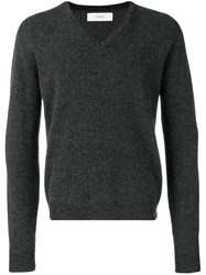 Pringle Of Scotland V Neck Lambswool Jumper In Charcoal Ink Grey