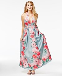 Teeze Me Juniors' Printed Satin Halter Gown A Macy's Exclusive Style Sage Multi