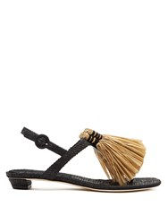 Sanayi 313 Capannina Raffia Embellished T Bar Sandals 1061 Black Multi