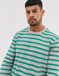 Only And Sons Long Sleeve Stripe Crew Neck Top Grey