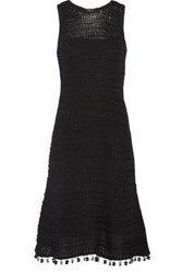 Derek Lam Tasseled Crocheted Cotton Dress Black