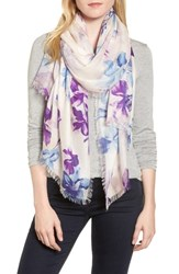Nordstrom Eyelash Trim Print Cashmere And Silk Wrap Blue Frosted Petals