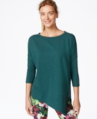 Betsey Johnson Asymmetrical Hem Three Quarter Sleeve Top Jeweled Juniper