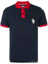 Moncler Grenoble Contrast Collar Polo Shirt Blue