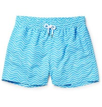 Frescobol Carioca Ondas Slim Fit Striped Mid Length Swim Shorts Blue