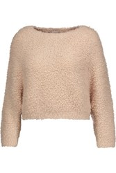 Brunello Cucinelli Cropped Cashmere Blend Boucle Sweater Blush