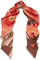 Balenciaga Floral Print Silk Satin Twill Scarf Orange