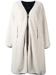 Undercover Shearling Effect Zipped Coat Nude Neutrals