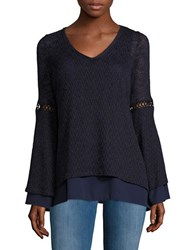 Design Lab Lord And Taylor V Neck Mock Layer Sweater Navy